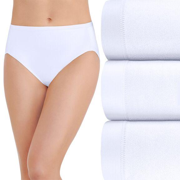 Body Caress Hi-Cut Panty, 3 Pack Star White/Star White/Star White