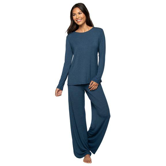 Long Sleeve Pajama Set Deep Blue Heather