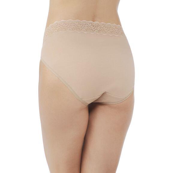 Flattering Lace Cotton Stretch HiCut Honey Beige