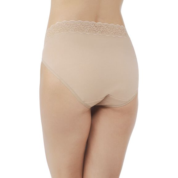 Flattering Lace Cotton Stretch HiCut Honey Beige
