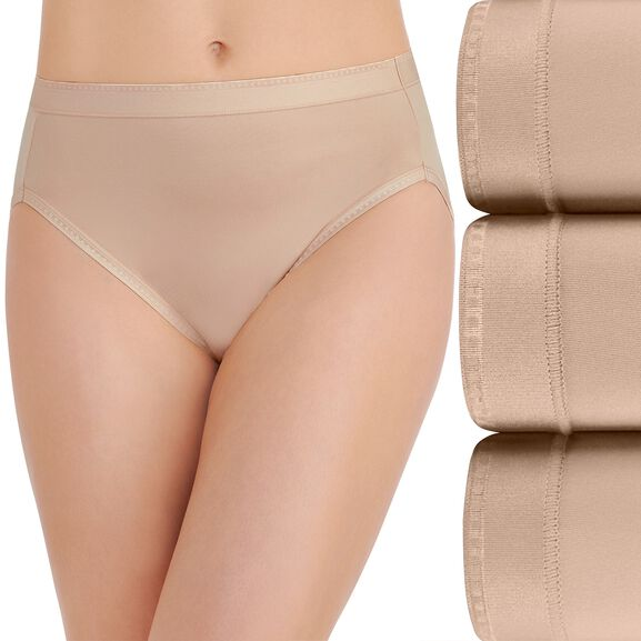 Comfort Where It Counts Hi-Cut Panty, 3 Pack Damask Neutral/Damask Neutral/Damask Neutral