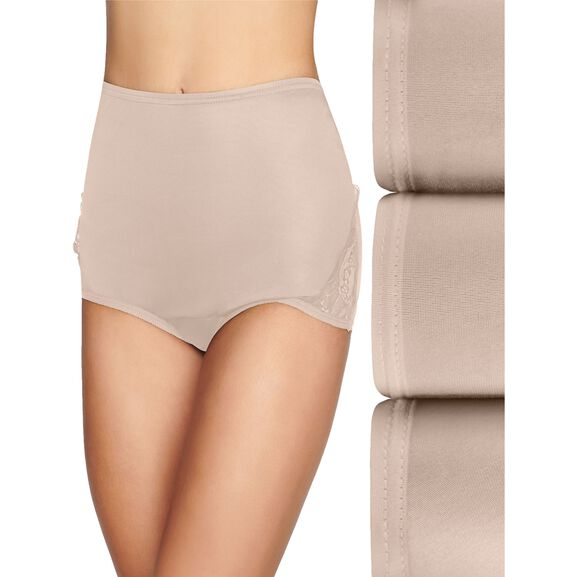 Perfectly Yours Lace Nouveau Full Brief Panty, 3 Pack Fawn/Fawn/Fawn