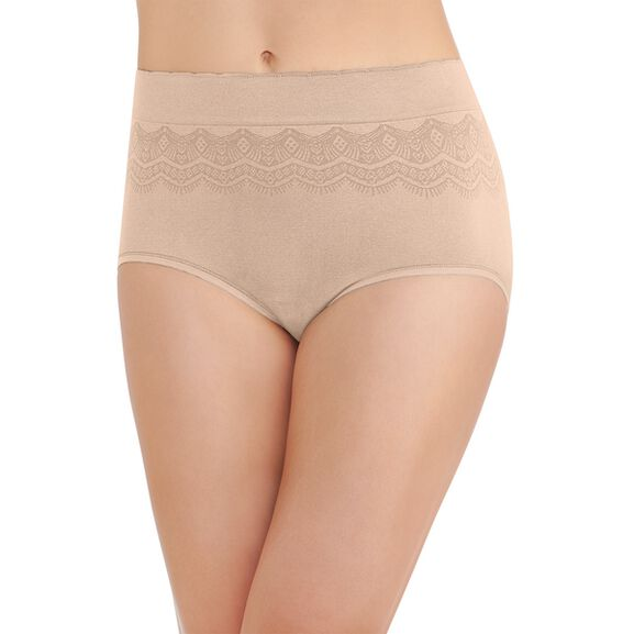 No Pinch No Show Seamless Brief Panty Damask Neutral Lace