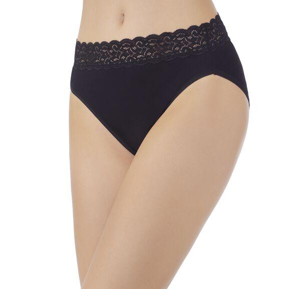 Flattering Lace Cotton Stretch HiCut Midnight Black
