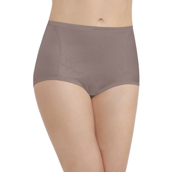 Smoothing Comfort™ Brief Panty with Lace Walnut