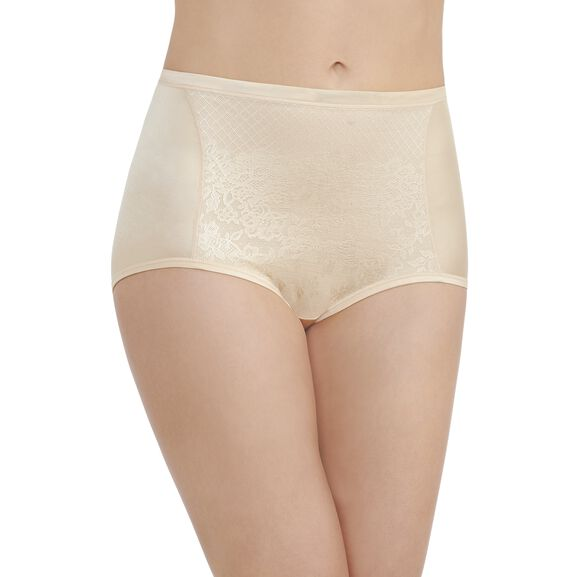 Smoothing Comfort Brief Panty with Lace Damask Neutral