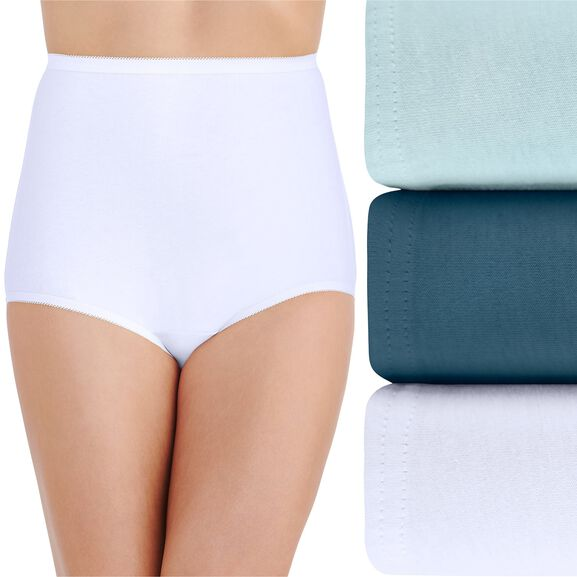 Perfectly Yours Classic Cotton Full Brief Panty, 3 Pack Clear Waters/Blue Note/Star White