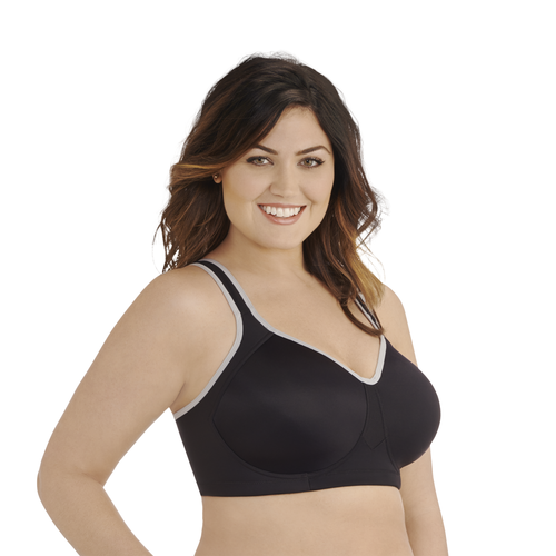 Full Figure Wirefree Sport Bra Midnight Black Feather Grey
