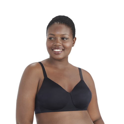 Nearly Invisible Full Figure Wirefree Bra MIDNIGHT BLACK