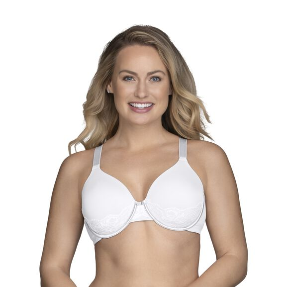 Beauty Back Full Figure Underwire Smoothing Bra with Lace Star White