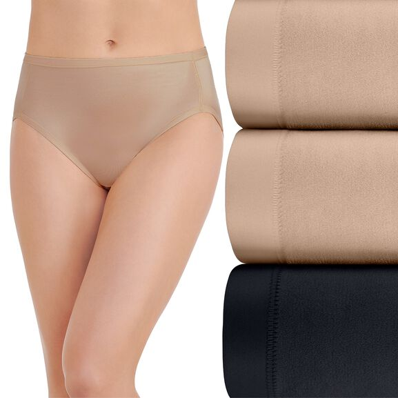 Body Caress Hi-Cut Panty, 3 Pack Damask Neutral/Damask Neutral/Midnight Black