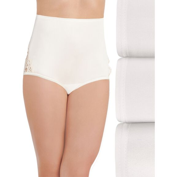 Perfectly Yours® Lace Nouveau Full Brief Panty, 3 Pack Star White/Star White/Star White
