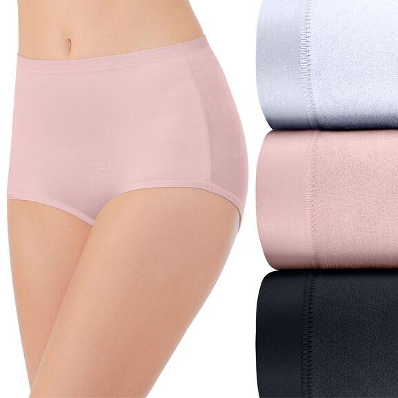 Body Caress Brief Panty, 3 Pack Star White/Sheer Quartz/Midnight Black
