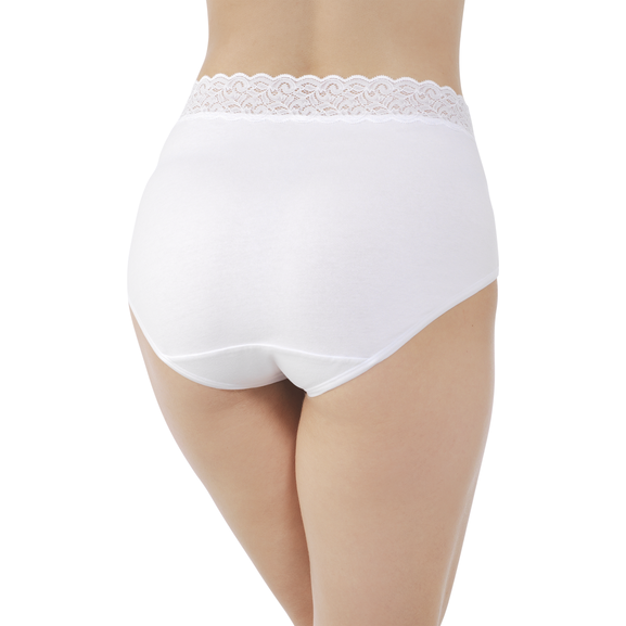 Flattering Lace Cotton Stretch Brief  Star White
