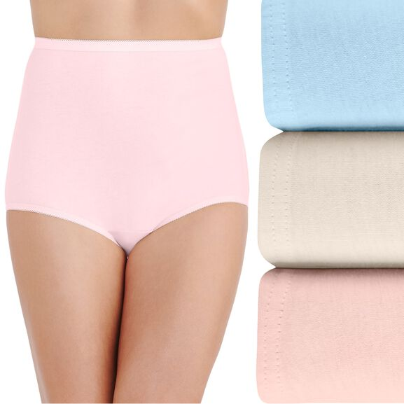 Perfectly Yours® Classic Cotton Full Brief Panty, 3 Pack Candleglow/Blushing Pink/Soft Blue