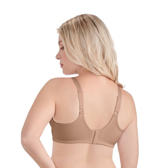 Beauty Back Full Figure Underwire Smoothing Bra  Honey Beige Jacquard