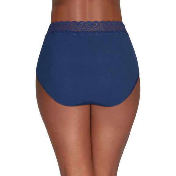 Flattering Lace Cotton Stretch Brief Times Square Navy
