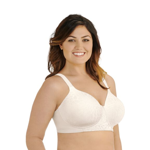 Beauty Back Full Figure Wirefree Smoothing Bra Coconut White Jacquard