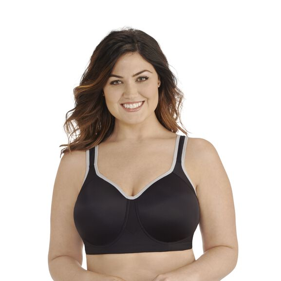 Full Figure Sport Bra Midnight Black Feather Grey