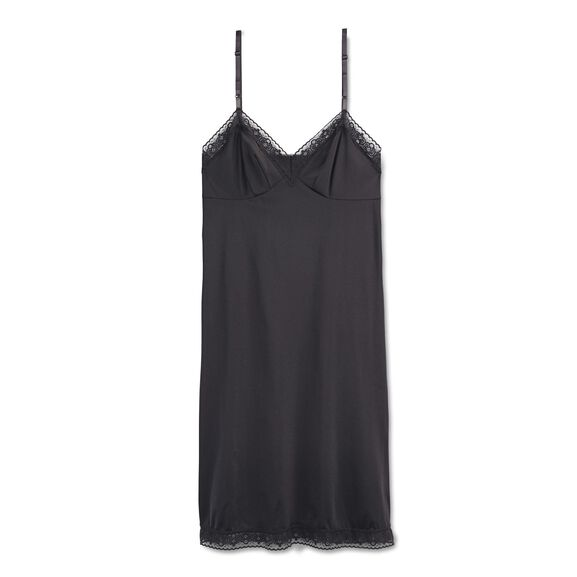Everyday Layers Lace Trim Full Slip Midnight Black