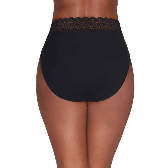 Flattering Lace Cotton Stretch Hi-Cut Midnight Black