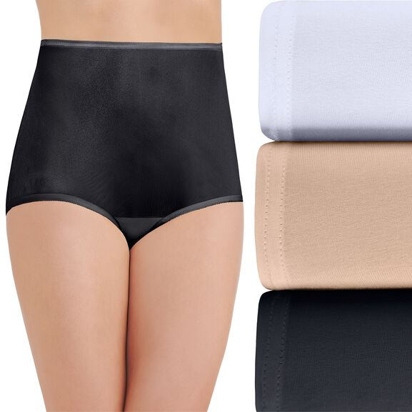 Perfectly Yours Ravissant Tailored Full Brief Panty, 3 Pack Star White/Damask Neutral/Midnight Black