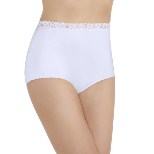 Perfectly Yours® Nylon with Lace Brief Star White