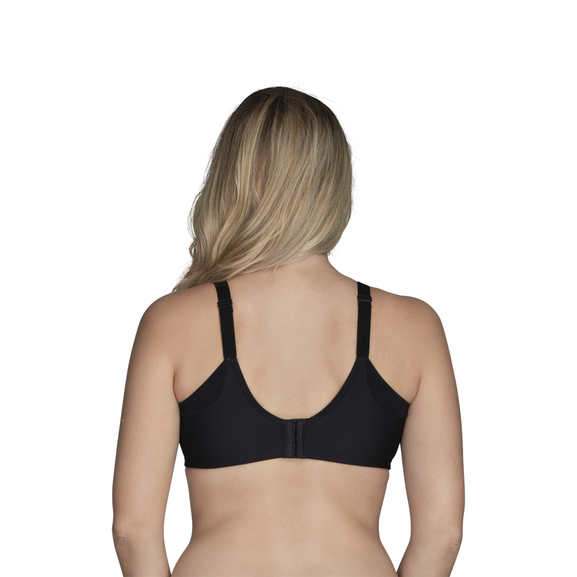 Full Figure Underwire Extended Side and Back Smoother Bra Midnight Black