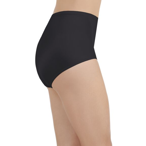 Smoothing Comfort Brief Panty with Lace Midnight Black
