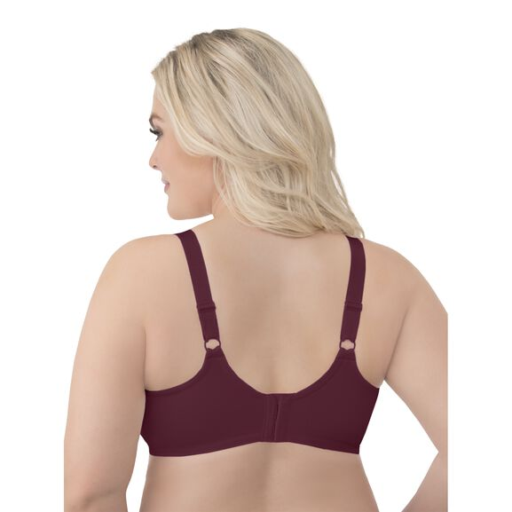 Beauty Back Full Figure Underwire Smoothing Bra with Lace Maroon
