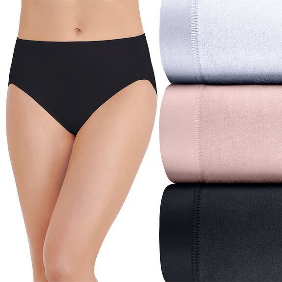Body Caress Hi-Cut Panty, 3 Pack Star White/Sheer Quartz/Midnight Black