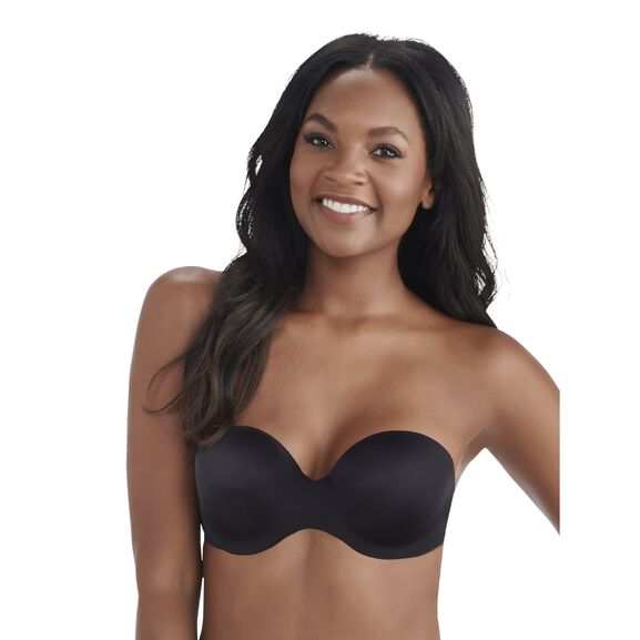 Nearly Invisible Full Coverage Strapless Underwire Bra MIDNIGHT BLACK