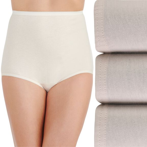 Perfectly Yours® Classic Cotton Full Brief Panty, 3 Pack Fawn/Fawn/Fawn