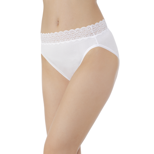 Flattering Lace Cotton Stretch HiCut Star White