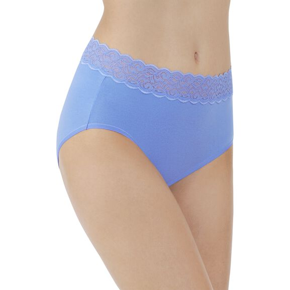 Flattering Lace Cotton Stretch Brief Mockingbird