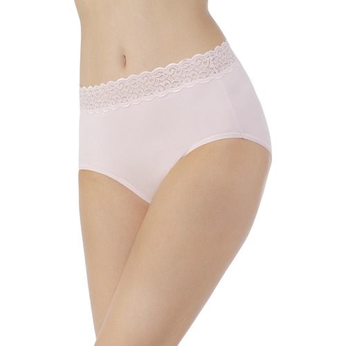 Flattering Lace Cotton Stretch Brief  Sheer Quartz