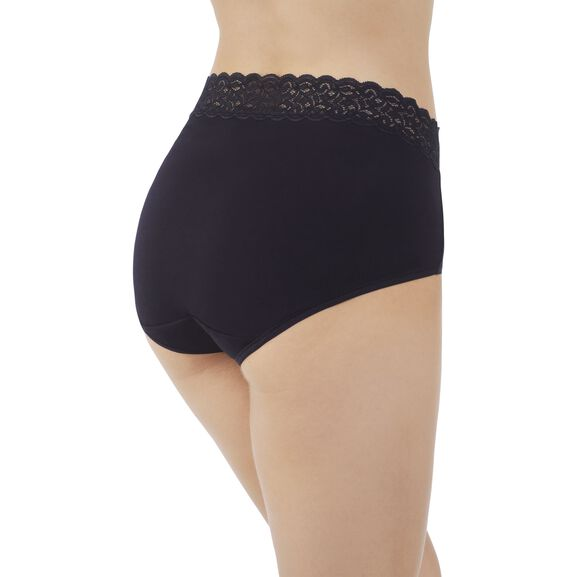 Flattering Lace Cotton Stretch Brief  Midnight Black