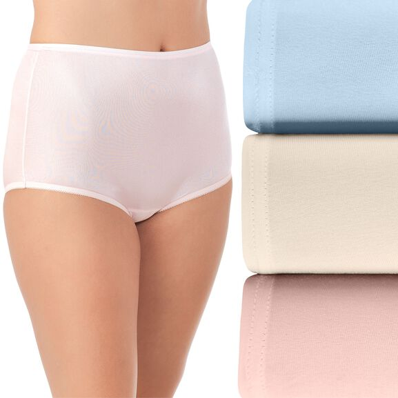Perfectly Yours® Ravissant Tailored Full Brief Panty, 3 Pack Blue/Candleglow/Pink