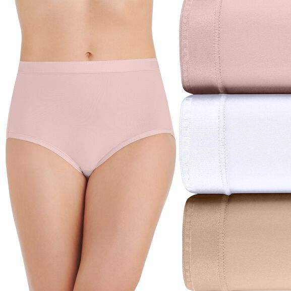 Comfort Where It Counts Brief Panty, 3 Pack Sheer Quartz/Star White/Damask Neutral