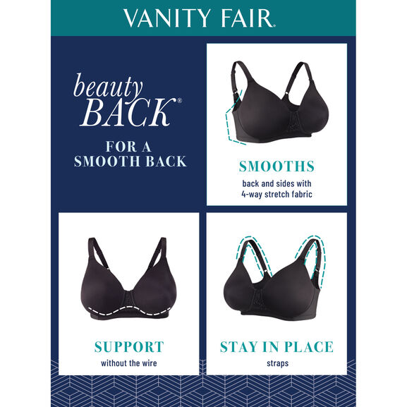 Beauty Back Full Figure Underwire Smoothing Bra with Lace Midnight Black