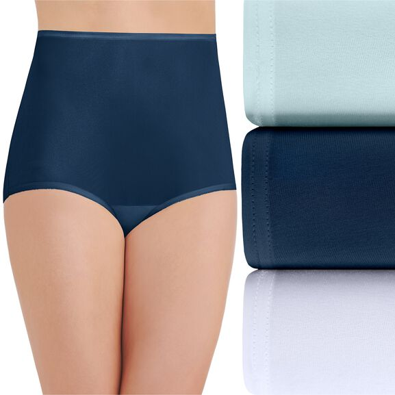 Perfectly Yours Ravissant Tailored Full Brief Panty, 3 Pack Clear Waters/Ghost Navy/Star White
