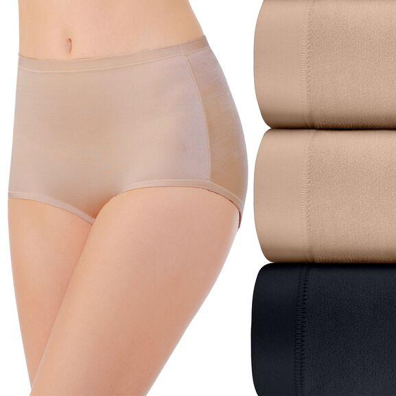 Body Caress Brief Panty, 3 Pack Damask Neutral/Damask Neutral/Midnight Black