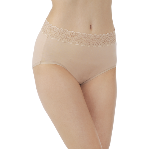 Flattering Lace Cotton Stretch Brief  Honey Beige
