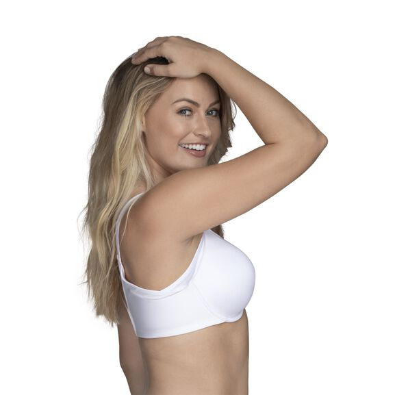 Full Figure Underwire Extended Side and Back Smoother Bra Star White