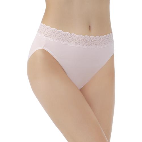 Flattering Lace Cotton Stretch HiCut Sheer Quartz
