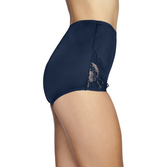 Perfectly Yours® Lace Nouveau Full Brief Panty, 3 Pack Ghost Navy/Azure Blue/Star White