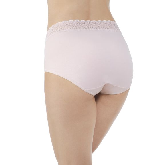 Flattering Lace Cotton Stretch Brief  Sheer Quartz